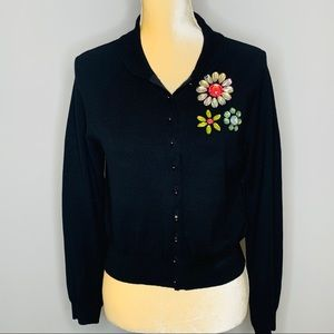 Cynthia Steffe Cardigan w/Rhinestone Flowers L